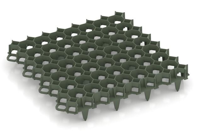 Grille de stabilisation de WARCO en couleur Vert mat au format 476 x 476 x 40 mm. La photo de l'article 3634 dans la vue complète de face.