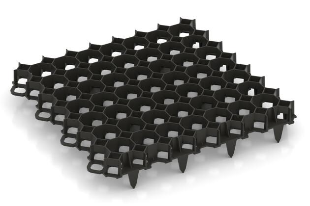 Grille de stabilisation de WARCO en couleur Noir au format 476 x 476 x 40 mm. La photo de l'article 5207 dans la vue complète de face.